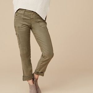 LEVEL 99 DAYLA LINEN CARGO PANT IN OLIVE